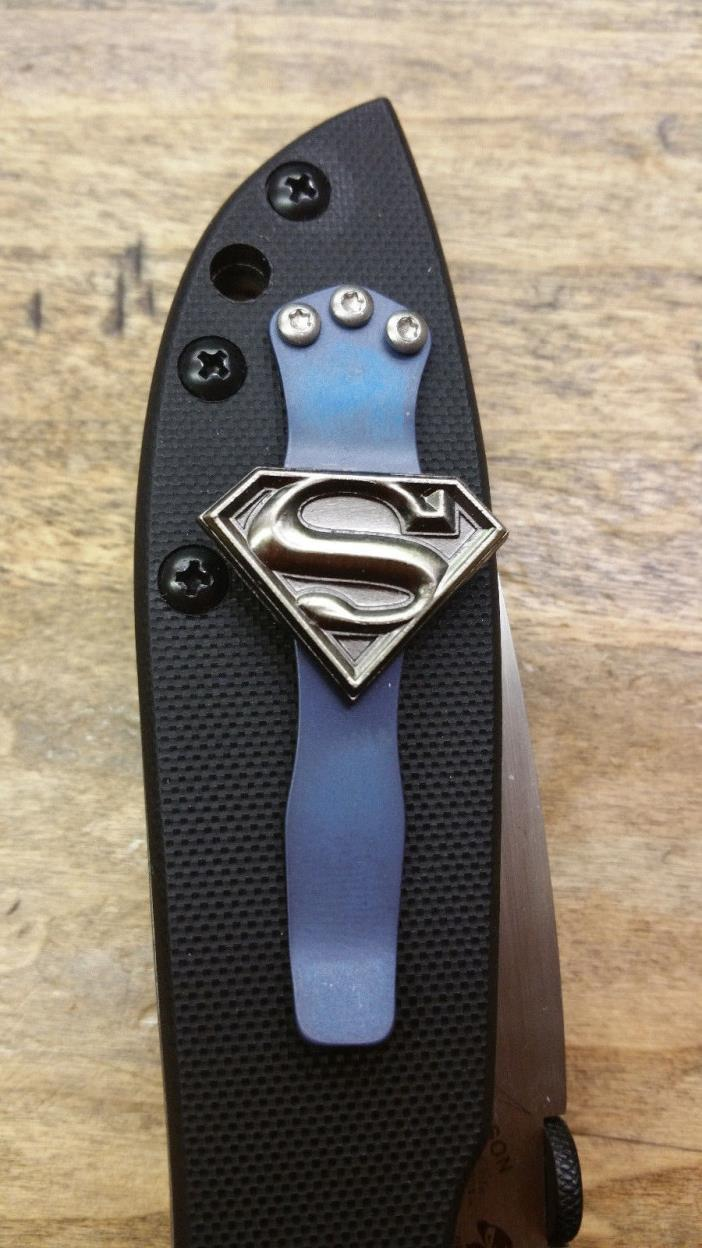 Benchmade, Emerson Knife Custom Superman Carry Pocket Clip- Titanium