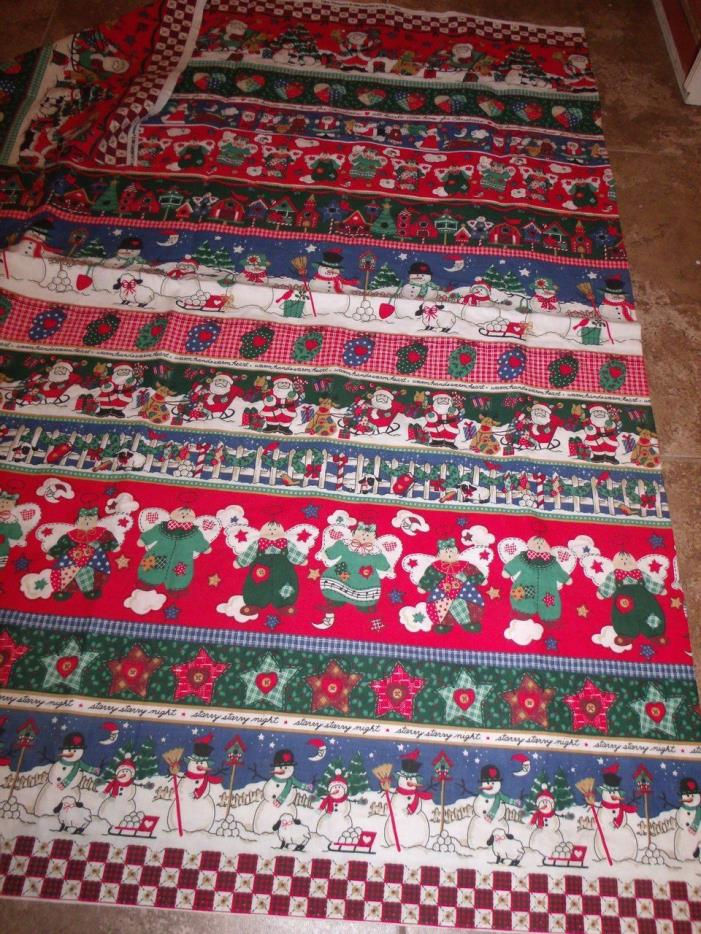 Vintage ROWS OF CHRISTMAS Fabric 1 Yard Fabric Traditions