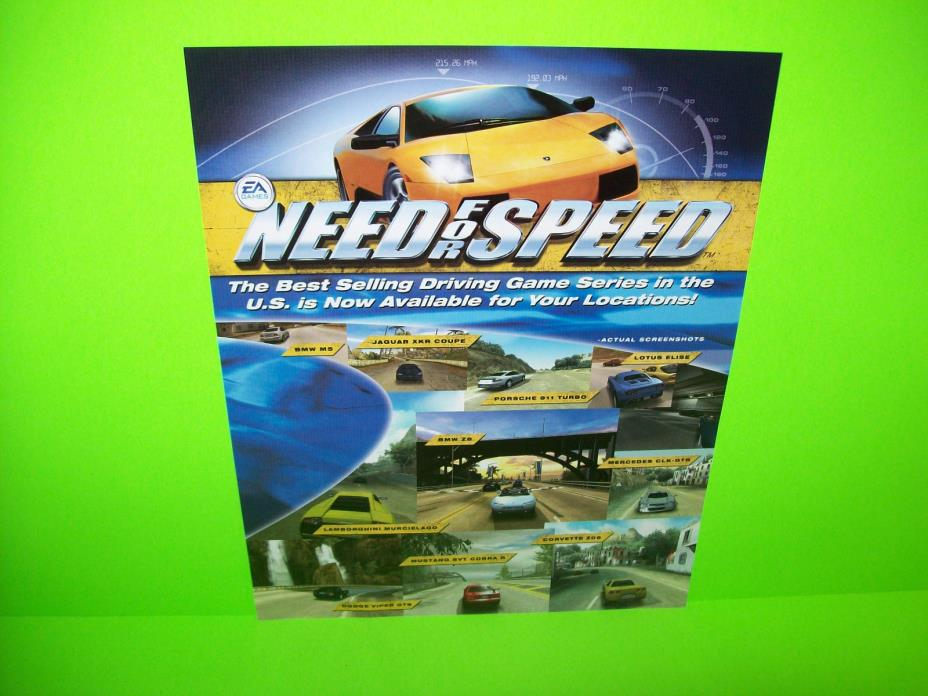 Global VR NEED FOR SPEED 2002 Original Video Arcade Game Promo Sales Flyer