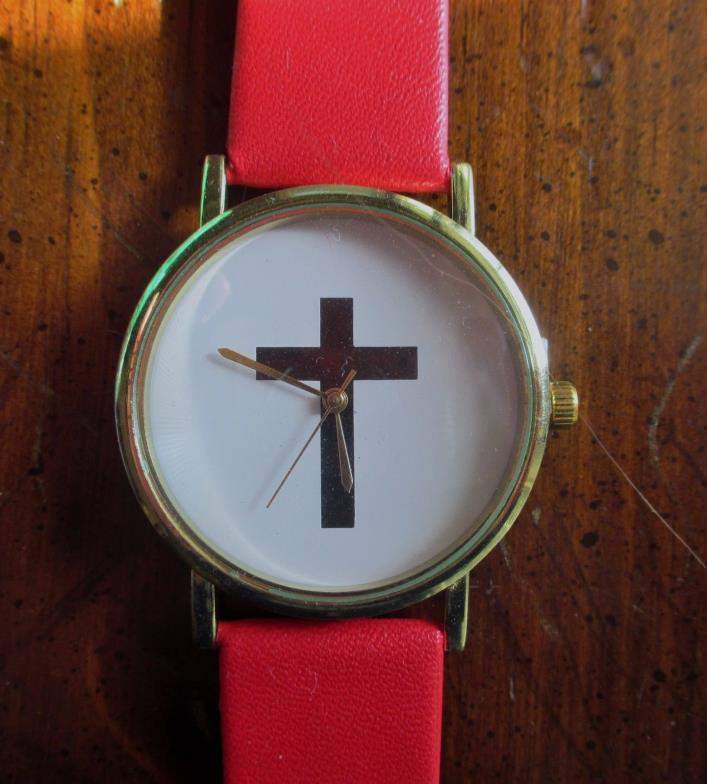 Ladies Watch with Christian Cross on Face - Red Adjustable Band