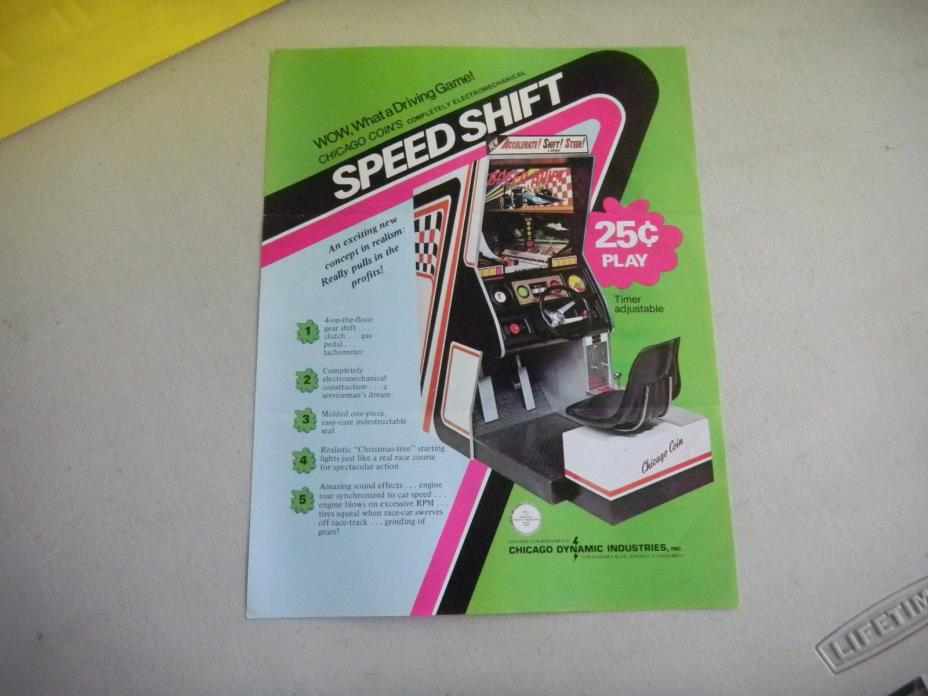 SPEED SHIFT  FOLDED    chicago DYNAMIC  coin ARCADE GAME  FLYER