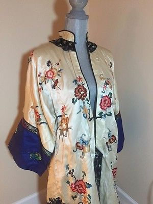 Antique Chinese women silk embroidery robe