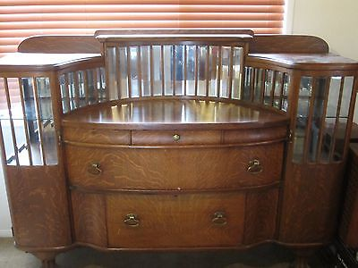 Antique Tiger Oak Buffet/Bar