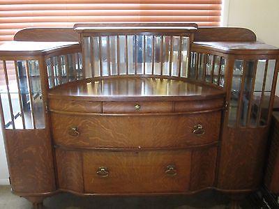 Antique Tiger Oak Buffet/Bar