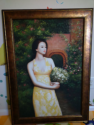 Beautiful Chinese Woman Painting in Yellow Dress Springtime Nice Colors