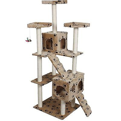 Cat Tree Condo Furniture Tower House Scratch Post Modern Wood 73