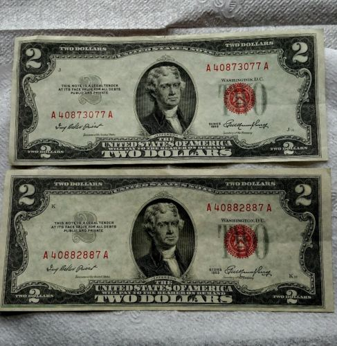 2 1953 J, K Uncirculated 2 dollar bills