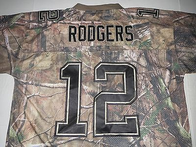 Aaron Rodgers Green Bay Packers Camouflage NFL Embroidered Jersey XL **MINT**
