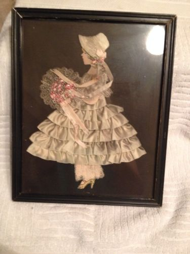 Vintage Framed Ribbon Paper Doll AS IS