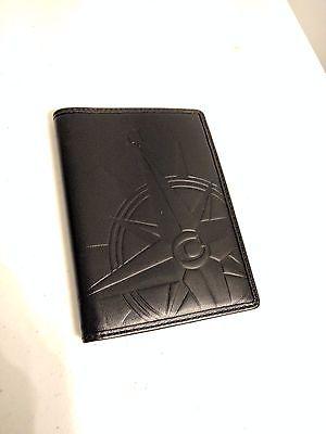 Coach 60945 embossed Compass Passport Case Holder Black NWT