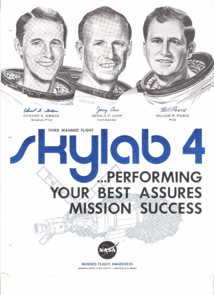 SKYLAB 4 3rd Manned Flight Showing Crew-, Gibson, Carr, Pogue sketches NASA MFA
