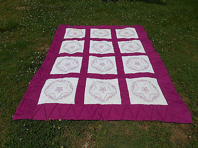 Hand Embroidered Quilt Hand Sewn Purple White