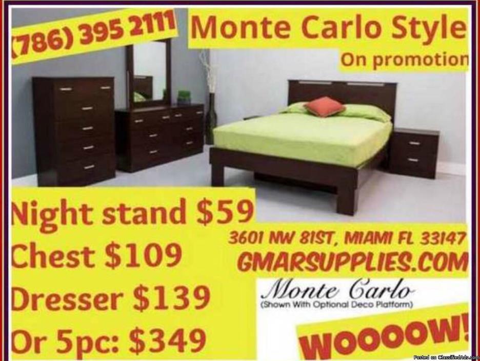 Monte Carlos 5pcs Bedroom Set