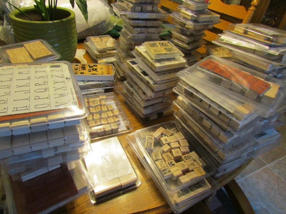 C LOT 4 STAMPIN UP  WOOD RUBBER STAMPS SCRAP BOOKING PHRASE POSIES IN THE WILD