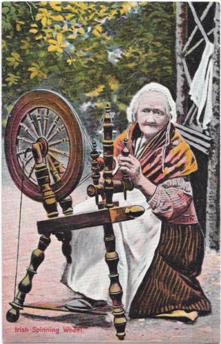 Old Woman at an Irish Spinning Wheel - Vintage Postcard