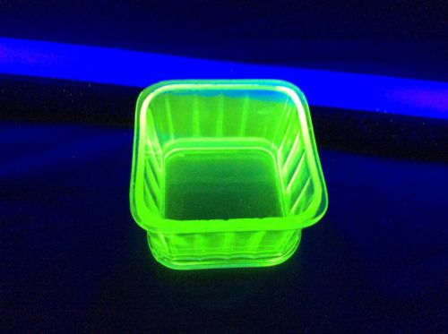Small Vaseline Glass Refrigerator Dish
