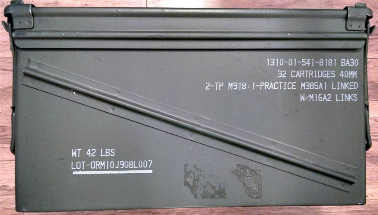(2) U.S. Military AMMO CAN PA-120 40mm Grenade US Military/UN Can Used Once