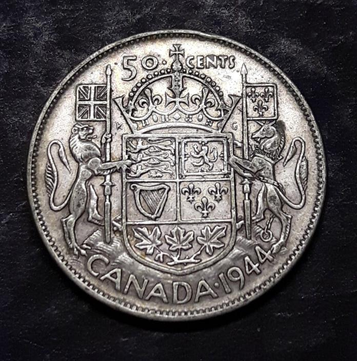 50 Cents  Silver  Canada  1944