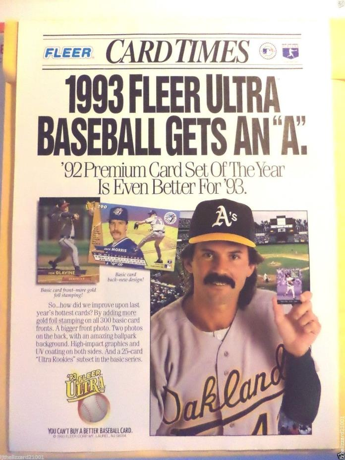 DENNIS ECKERSLEY MAGAZINE FULL PAGE CUTOUT 1993 FLEER ULTRA BASEBALL CARDS AD