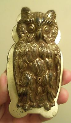 ANTIQUE CAST IRON Great Horned Owl PAPER LETTER DESK CLIP HOLDER #518