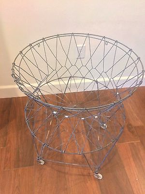 vintage/antique Allied metal collapsing laundry basket with wheels