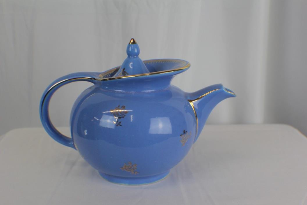 Blue vintage 6 cup hall teapot