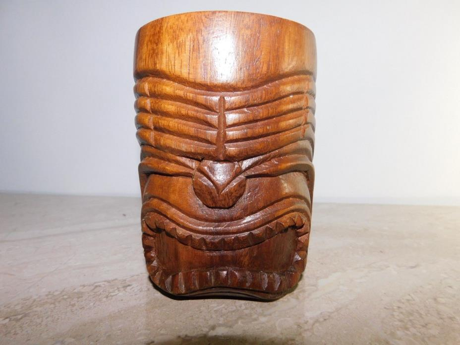 Vintage Tiki Mug, Carved Wood Hawaii