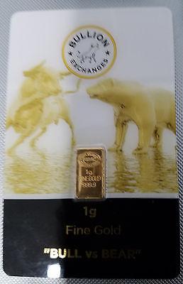Bull vs Bear 1 gram Gold Bar