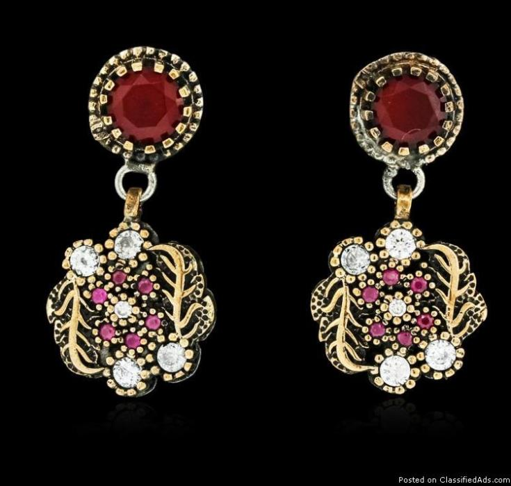 SILVER 6.36ctw Red Crystal and Cubic Zirconia Earrings