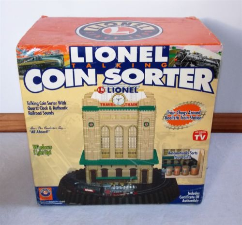 LIONEL Train Depot Clock Talking Coin Sorter Bank with COA - NEW IN BOX