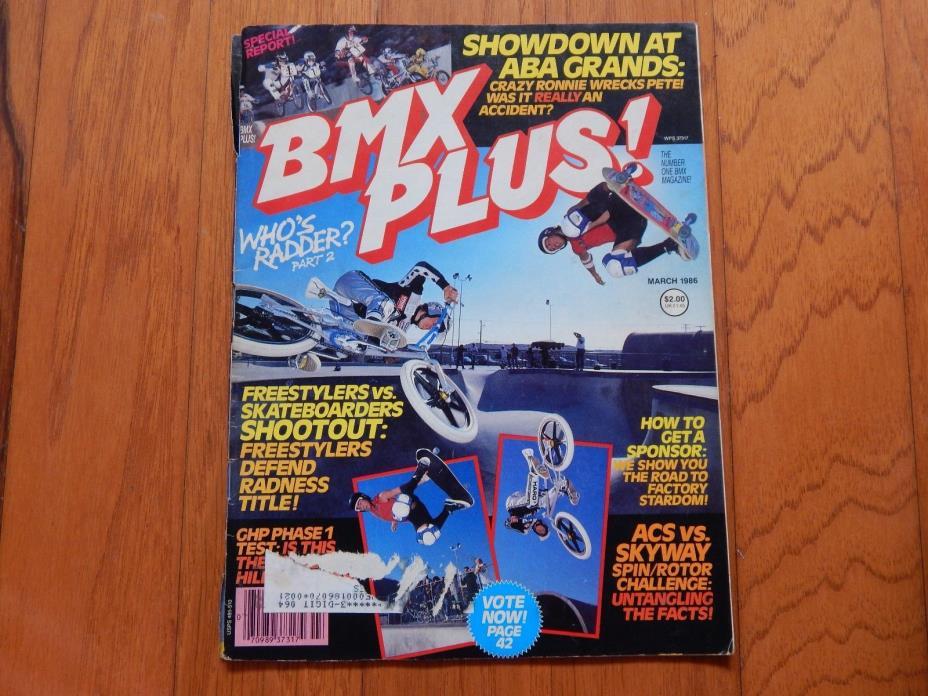 BMX Plus Magazine, March 1986 - Vintage 1980s BMX
