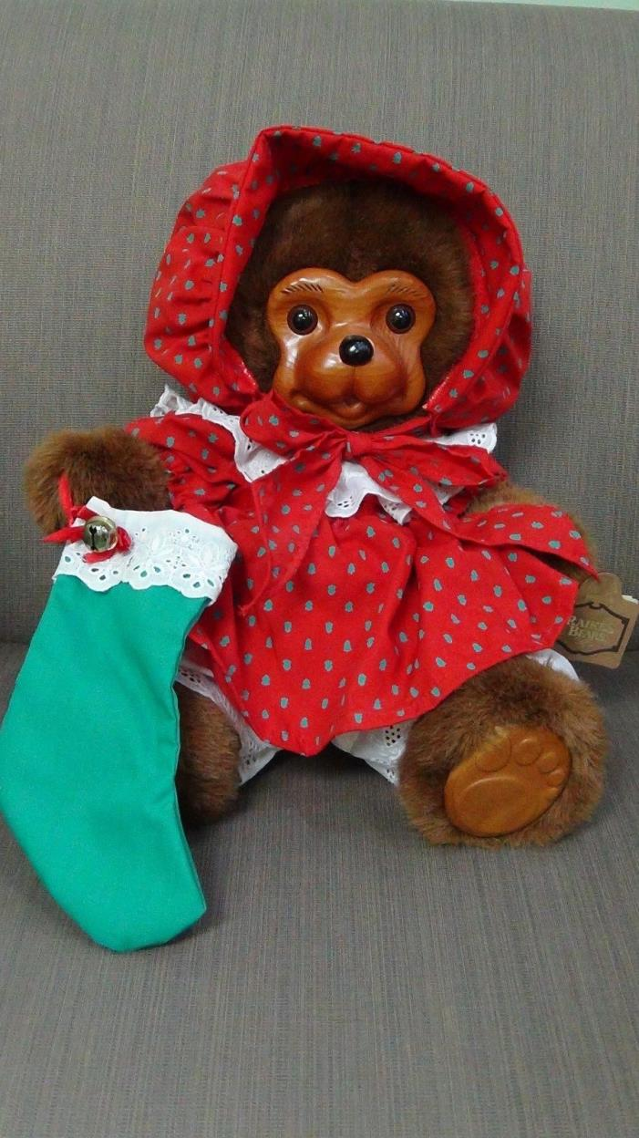 Robert Raikes Limited Edition Christmas Bear Wood Face 600 / 10000 Nicolette