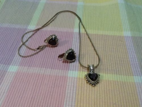 Clip On Earrings With Matching Necklace Amethyst Color (purple)