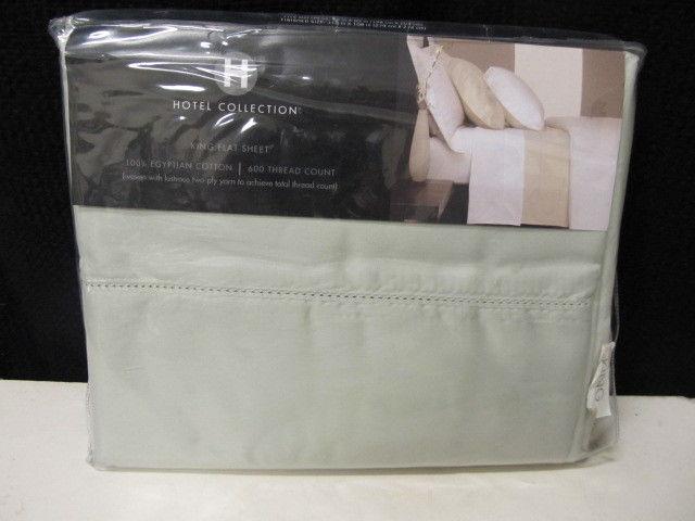 Hotel Collection 600 TC Egyptian Cotton Jasper Green King Flat Sheet  NIP