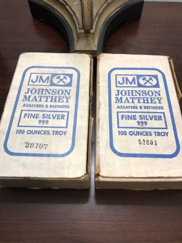 (2) 100 Ounce Johnson Matthey Silver Bullion Bars .999 In Original Boxes With Se