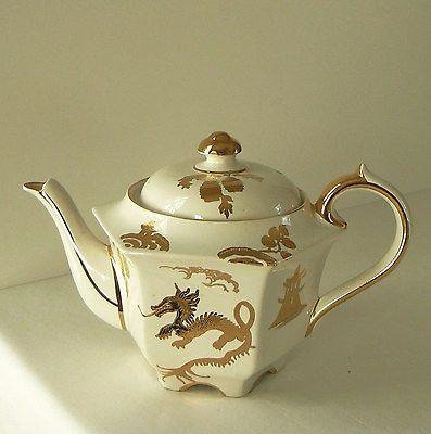 Vintage Sadler Teapot, Gold Dragon Porcelain Teapot