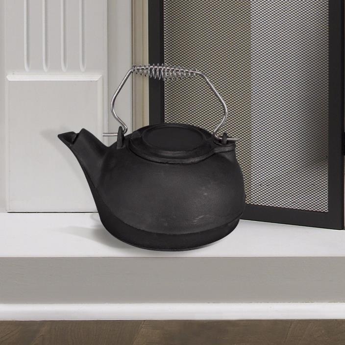 Fireplace Pot Steamer Kettle Humidifier Cast Iron 3 Qt Black Wood Stove Vintage