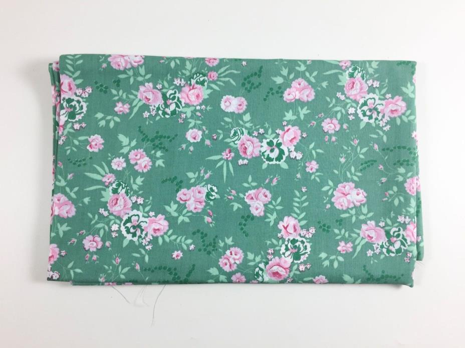 Vintage Green Floral Fabric Pink Flower 1950s Sewing Quilting