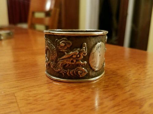 ANTIQUE NAPKIN Ring Sterling Silver Chinese Dragon