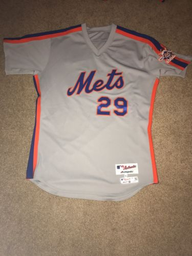 Eric Campbell 2016 Team Issued NY Mets 1986 Road Throwback Jersey - Patch - MLB