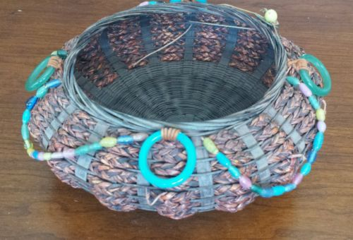 Antique Glass Beaded Wicker Chinese Sewing Basket