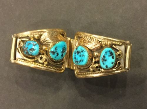 VTG Navajo Silver Gold Turquoise Watchband M- Justin Morris Sterling 12KGF