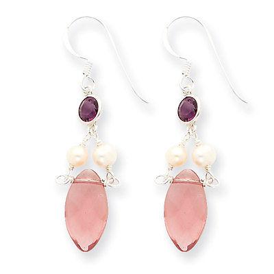 Ster. Silver Amethyst Purple CZ White Freshwater Cultured Pearl Earrings