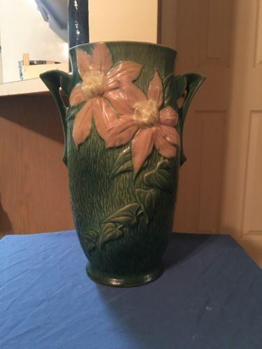 Large Roseville Clematis Vase