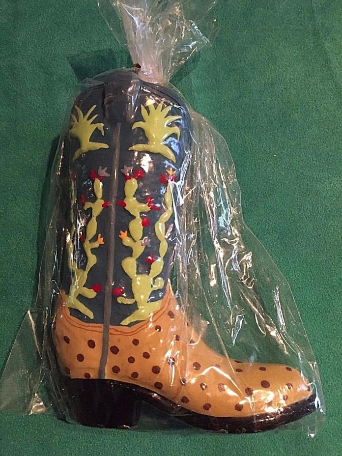 New Cowboy Western Boot Candle 6 Inch Tall Ostrich With Cactus Designs