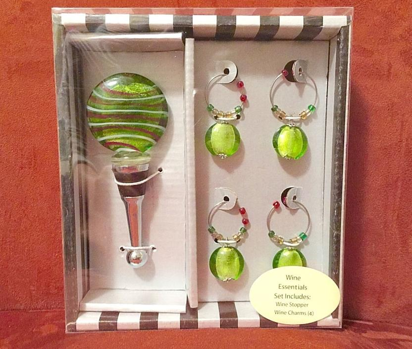 Christmas Wine Bottle Stopper & 4 Glass Charms Green Red White New Box Set