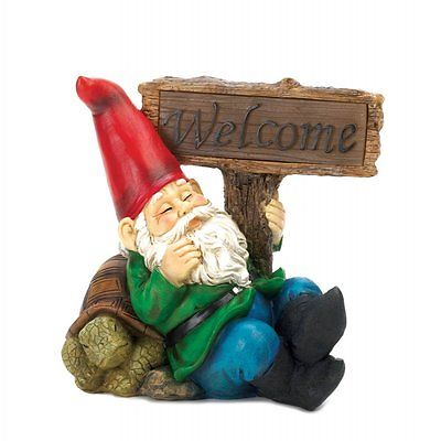 Welcome Gnome Solar Light Statue Polyresin Colorful Figurine Garden Accent Wow