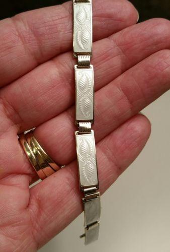 Norway Enamel Guilloche Sterling Bracelet