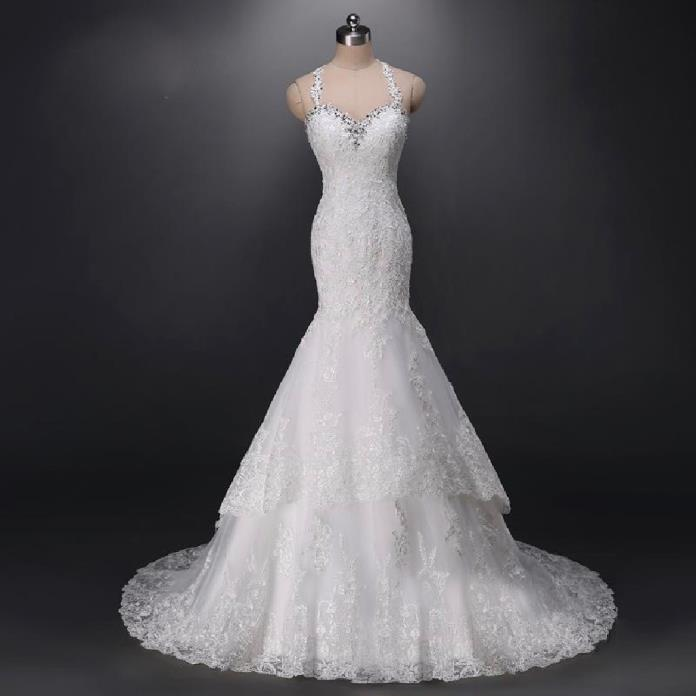 Kelley's Mermaid Lace Spaghetti Strap Wedding Gown