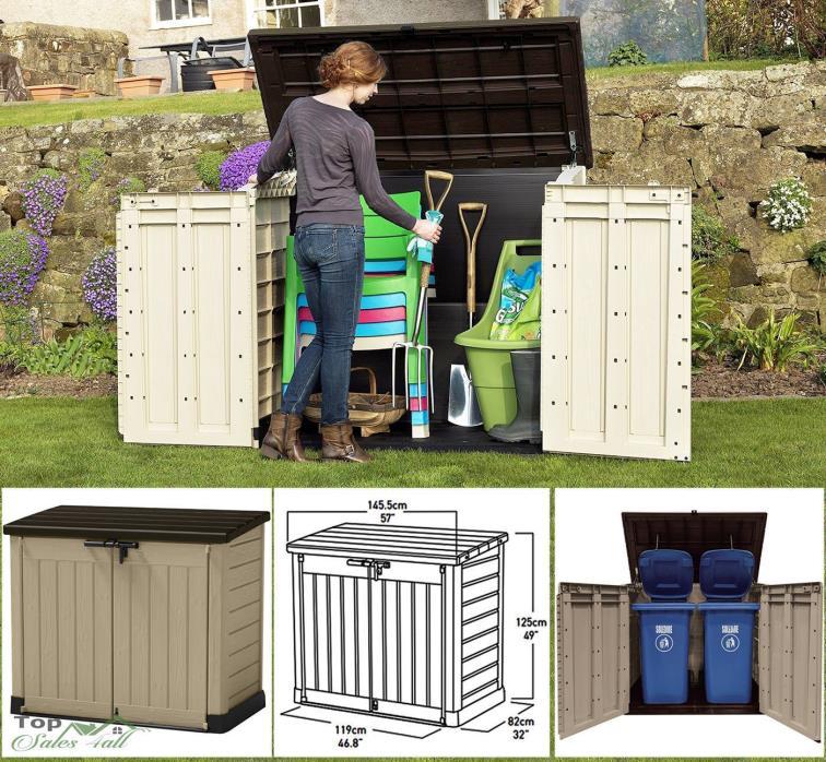 Outdoor Garden Storage Shed Patio Garage Tool Box Backyard Deck 42 Cu Ft Cabinet
